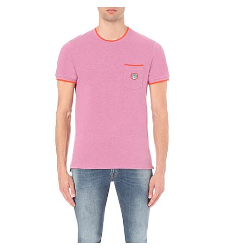 KENZO Contrast-trim cotton-pique t-shirt (Begonia