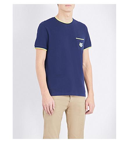 KENZO Contrast-trim cotton-pique t-shirt (Ink