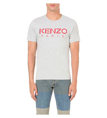 KENZO Logo-print cotton-jersey t-shirt (Pale+grey