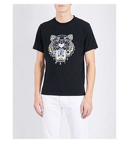 KENZO Tiger-motif cotton-jersey T-shirt (Black