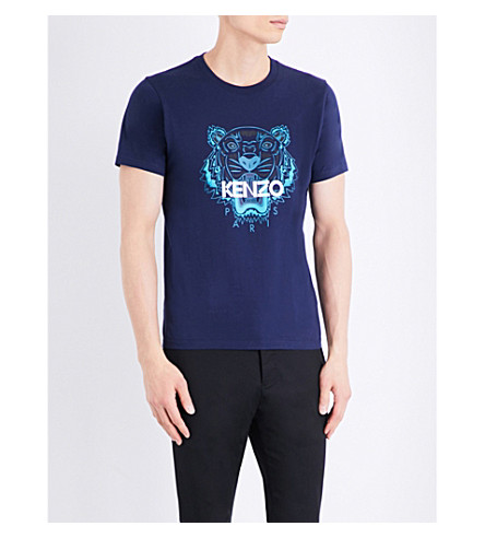 KENZO Tiger-motif cotton-jersey T-shirt (Navy/blue