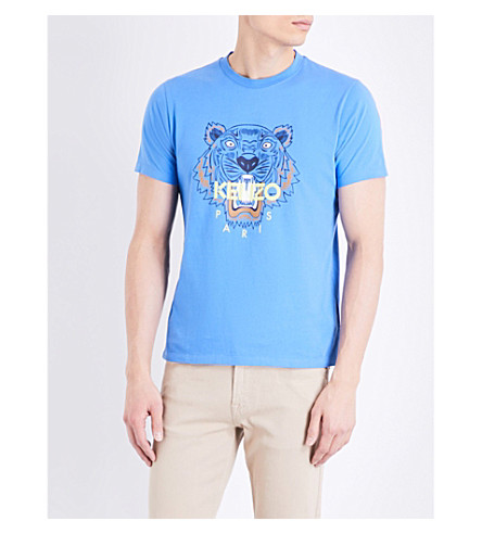 KENZO Tiger-motif cotton-jersey T-shirt (Perriwinkle
