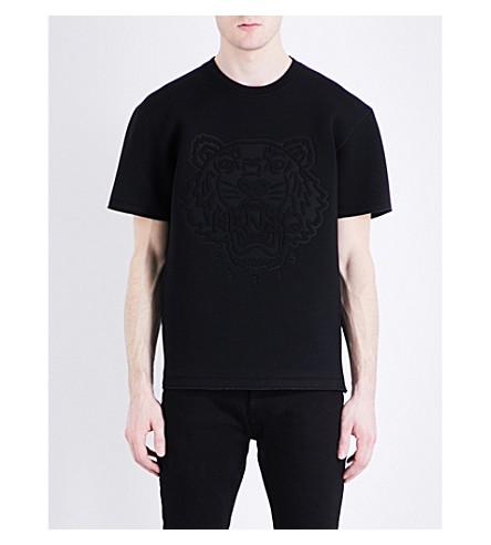 KENZO Tiger-embossed neoprene T-shirt (Black