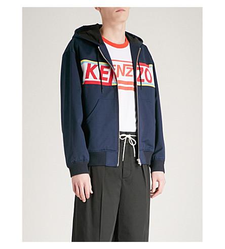 KENZO Logo-detail cotton-twill jacket (Navy+blue