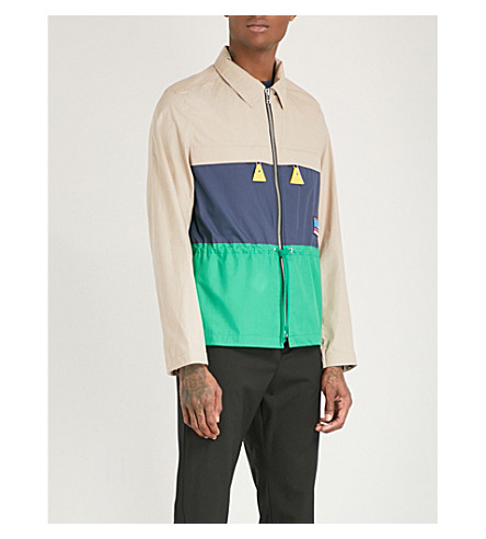 KENZO Colour-block cotton-poplin jacket (Pale+camel