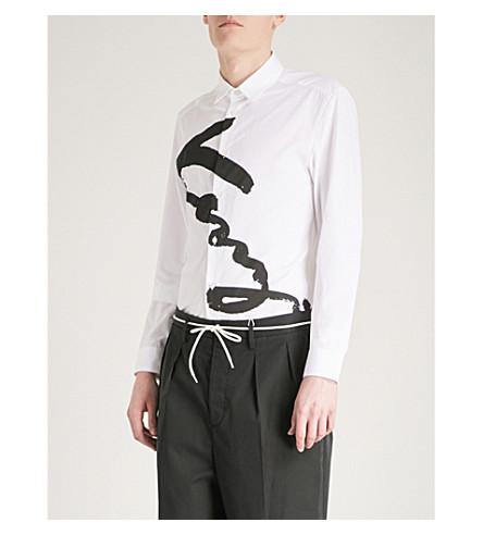 KENZO Script-logo slim-fit cotton shirt (White