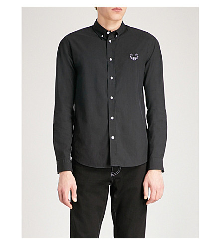 KENZO Embroidered casual-fit cotton shirt (Black