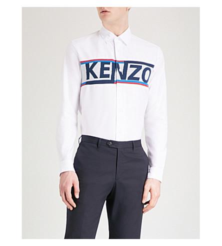 KENZO Branded-panel regular-fit cotton shirt (White