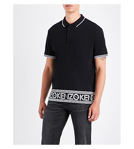 KENZO Logo-border cotton polo shirt (Black