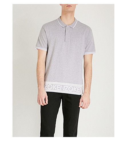 KENZO Logo-border cotton polo shirt (Grey