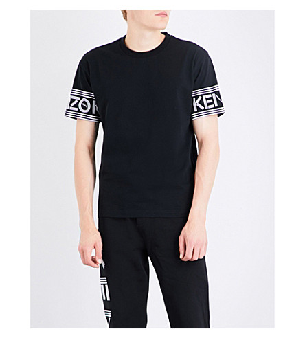 KENZO Logo-print cuff cotton-jersey T-shirt (Black
