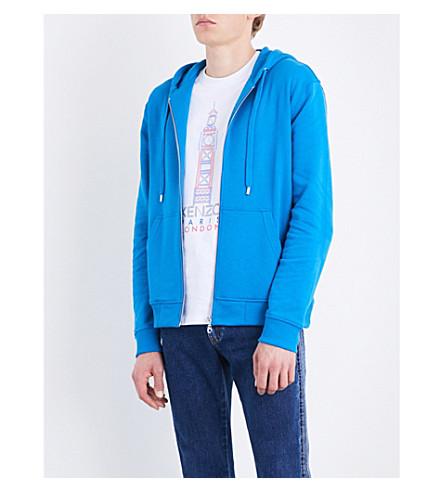 KENZO Logo-print cotton-jersey hoody (Duck+blue