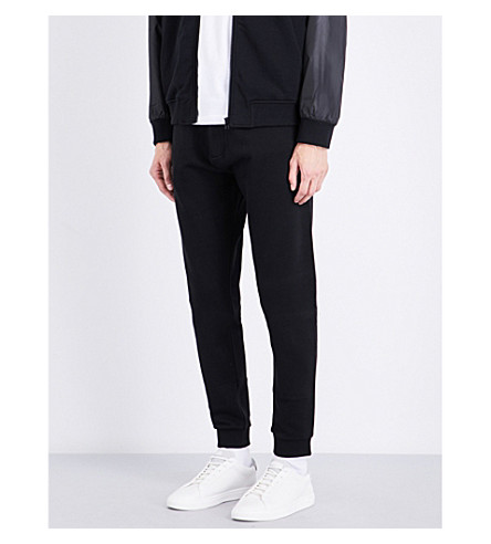 KENZO Tiger-embroidered cotton-jersey track pants (Black