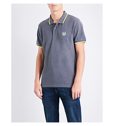 KENZO Tiger-embroidered cotton-piqué polo shirt (Dark+grey