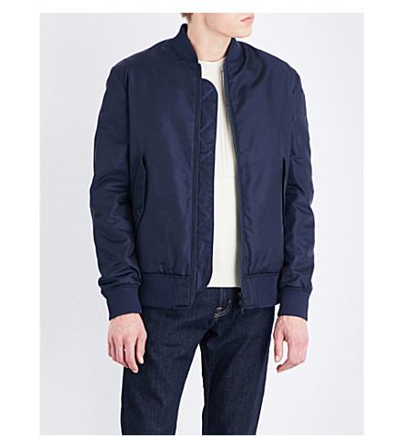 KENZO Embroidered shell bomber jacket (Navy+blue