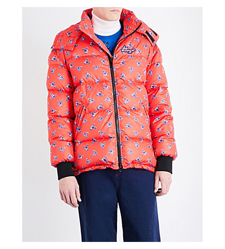 KENZO La Collection Memento flower-print down and feather-blend puffer jacket (Medium+red