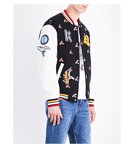 KENZO Wild flower wool-blend and leather varsity jacket (Black