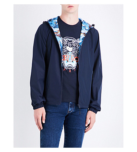 KENZO Reversible shell jacket (Navy+blue