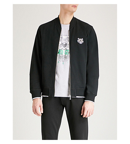 KENZO Tiger-crest cotton-jersey bomber jacket (Black
