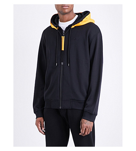 KENZO Shell-panel cotton-jersey hoody (Black