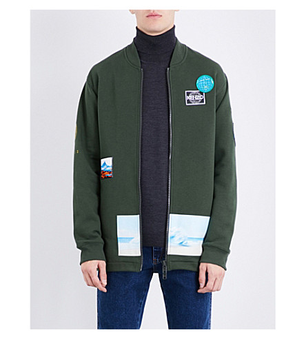 KENZO Badge-detailed cotton-blend sweatshirt (Dark+khaki