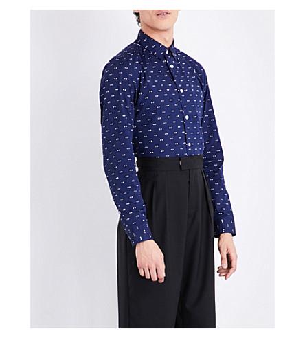 KENZO Eye pattern slim-fit stretch-cotton shirt (Navy+blue