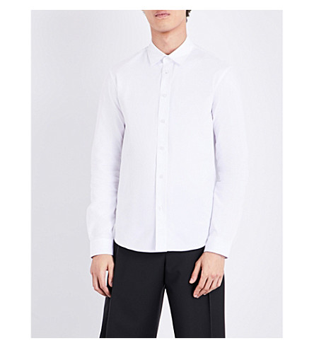 KENZO Embroidered logo casual-fit cotton shirt (White