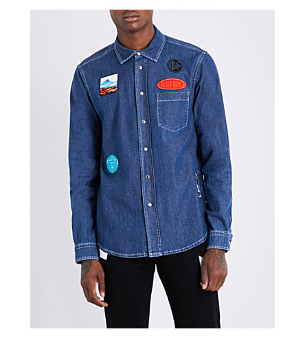KENZO Badge-embroidered slim-fit denim shirt (Navy+blue