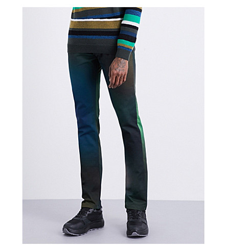 KENZO Multicoloured slim-fit straight jeans (Dark+khaki