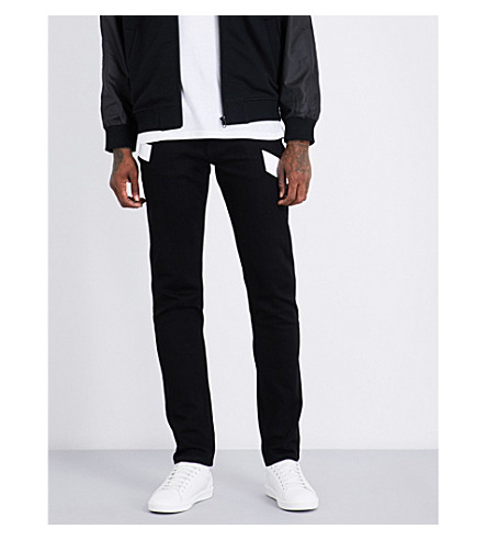 KENZO Vinyl-print regular-fit straight-leg stretch-denim jeans (Black