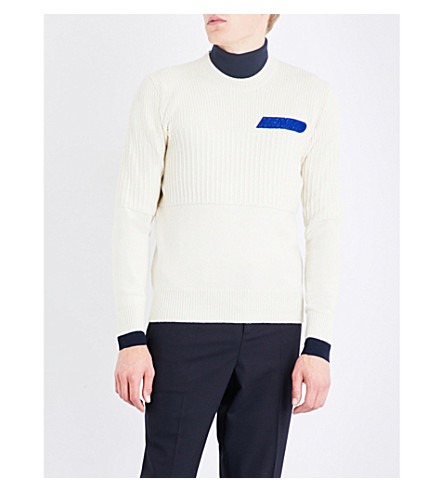 KENZO Velvet logo-flocked wool jumper (Off+white
