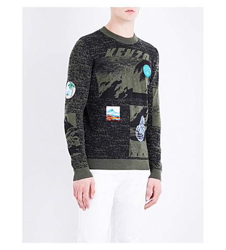 KENZO Patch-detail wool-blnend jumper (Dark+khaki