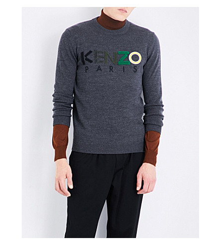 KENZO Flocked logo-embroidered wool jumper (Dark+grey