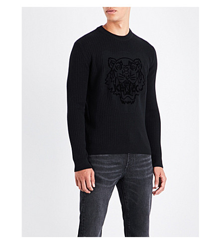 KENZO Tiger-flocked ribbed wool sweater (Black