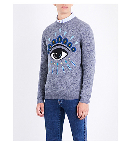 KENZO Eye icon-motif wool and cotton-blend jumper (Anthracite