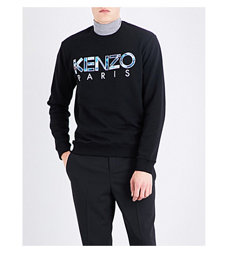 KENZO Graphic logo-print cotton-jersey sweatshirt (Black