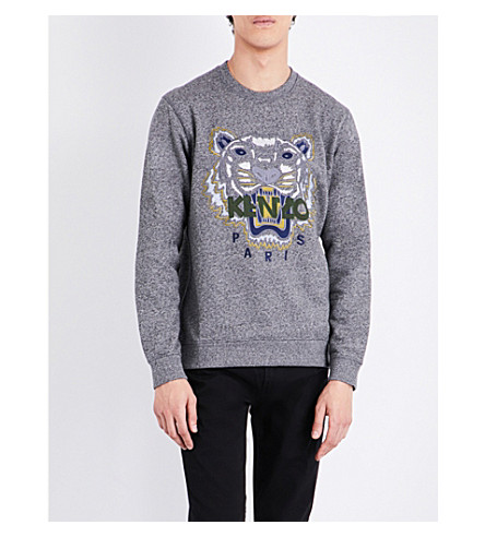 KENZO Tiger-embroidered cotton-jersey sweatshirt (Anthracite