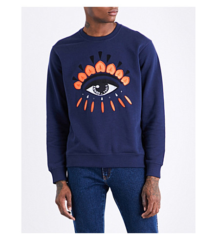 KENZO Icon evil eye-print stretch-cotton sweatshirt (Ink