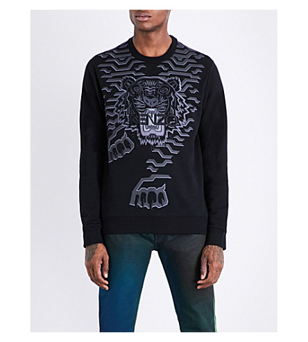 KENZO Geo Tiger cotton-jersey sweatshirt (Black