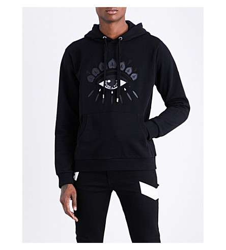 KENZO Icon evil eye-embroidered cotton-blend hoody (Black