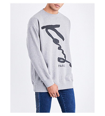 KENZO Signature cotton-jersey sweatshirt (Grey