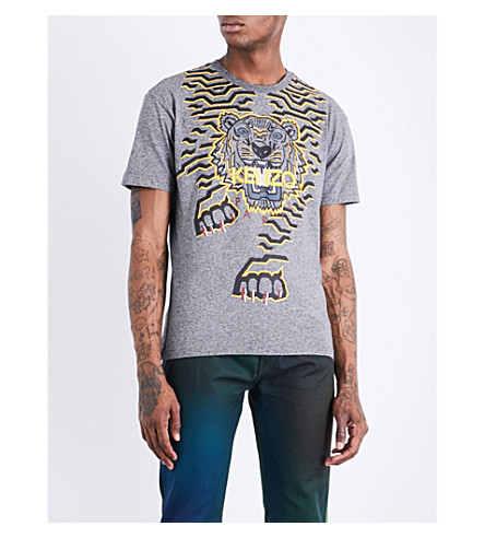 KENZO Geo Tiger cotton-jersey T-shirt (Anthracite