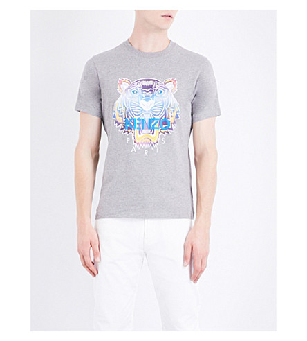 KENZO Rainbow Tiger cotton-jersey T-shirt (Dove+grey