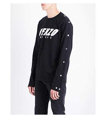 KENZO Popper-fastened cotton-jersey top (Black