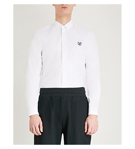 KENZO Tiger-badge casual-fit cotton shirt (White