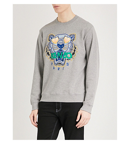 KENZO Tiger-motif cotton-jersey sweatshirt (Dove+grey