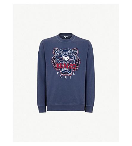 KENZO Tiger-embroidered cotton-jersey sweatshirt (Ink
