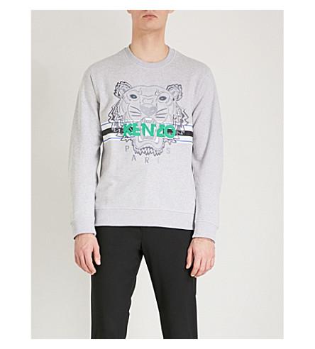 KENZO Tiger-embroidered cotton-jersey sweatshirt (Grey