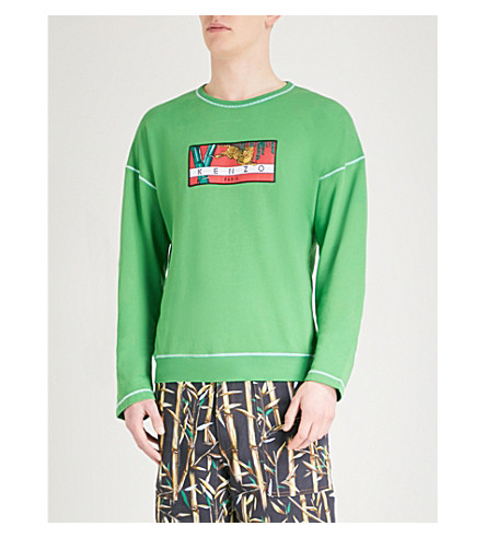KENZO Flying Tiger-print cotton-jersey sweatshirt (Grass+green