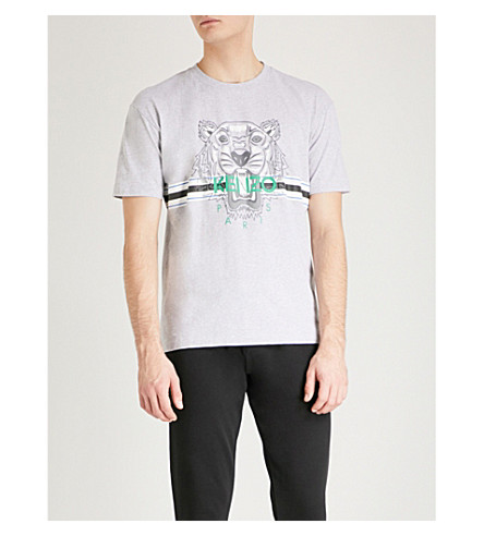 KENZO Tiger-embroidered cotton-jersey T-shirt (Grey